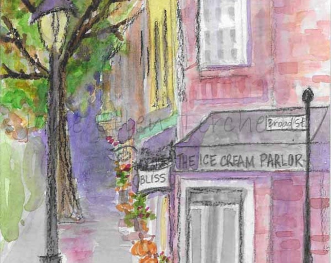The Ice Cream Parlor on Broad Street, Southern Pines, NC Giclee Print