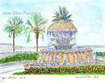 The Pineapple at Waterfront Park - Charleston, SC Giclee Print