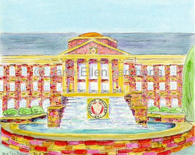 Johnson Hall and Fountain @ Meredith College - Raleigh, NC Giclee Print
