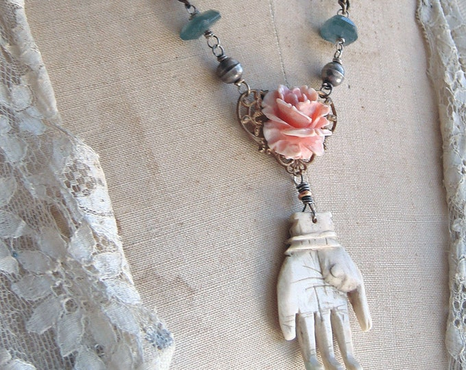 Vintage Antique Assemblage Carved Bone Hand And Rose Necklace Etsy