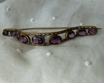 Vintage Antique Corsage Pin Victorian Edwardian Textured Stamped Brass Nosegay Hat Ornament Faceted Amethyst Purple Glass Stones Unusual