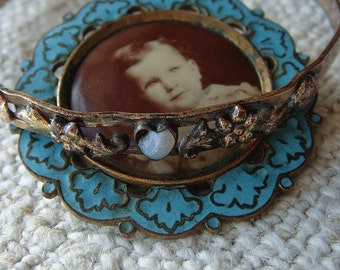 Antique Victorian Enamel Cloisonne Photo Brooch and Childs Bracelet