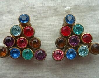 Vintage  Dress Clips Art Deco Brass Bezel Set Rhinestone  Set of 2 Multi Color Triangle
