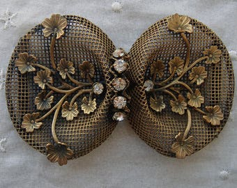 Vintage Czech Brass Rhinestone Sash or Belt Buckle Antique Edwardian Era Hand Crafted Mesh Filigree Sculptural