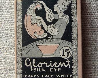 Original 1920s Glorient Silk Dye Box New York With Contents Instructions Lovely Cover Graphic