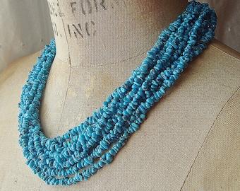 Vintage Southwestern Natural Turquoise Multi Strand Necklace Tiny Tumbled Nuggets