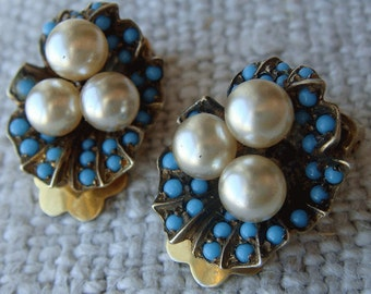 Vintage Earrings Sterling Clip On Pave Turquoise Glass Cabochon Faux Pearl Flower Pansy Violet Shell Shape Vermeil Earrings