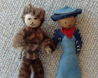 Mid Century Hand Made Figural Brooches Embellishments Cowgirl and Mountain Man Miniature Dolls Dale Evans Davy Crockett Whimsy Not Toys