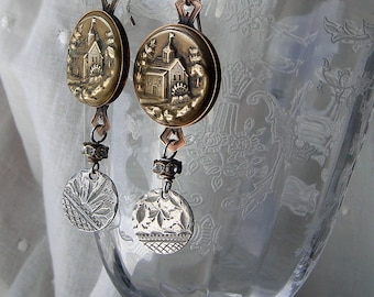 Repurposed Victorian Picture Button Earrings, The Old Mill, Silver Love Token Dangle Earrings, Assemblage Mixed Metal Upcycled Sentimental