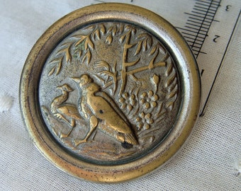 Large Victorian Metal Button Stamped Scenic Bird Craft Sewing Supply Patina Strange Birds