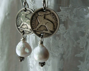 Irish Rabbit Coin Earrings Vintage Ireland Coins Bunny Hare White Pearl Dangle Several Dates Birthday