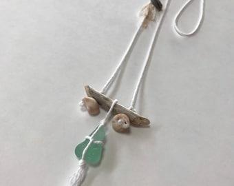 Sea Glass Necklace, Beach Jewelry, Coastal, Shell, Driftwood