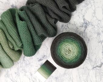 Gradient Yarn Cake - fingering weight - 490 yds  100g - 100% Superwash Merino - Forest Light