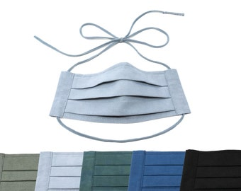 Adjustable Tie Pleated Face Mask with Nose Wire - MADE IN USA - many colors - flannel lining option