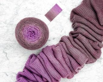 Gradient Yarn Cake - fingering weight - 490 yds  100g - 100% Superwash Merino - Lonely Rose