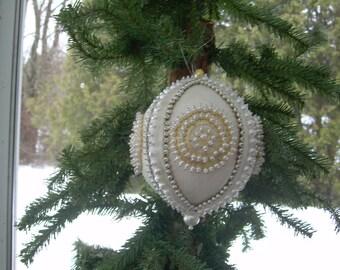 Handmade beaded white felt ball Christmas ornamemt