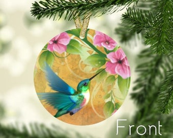 hummingbird ornament with pink flowers