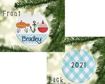 fishing ornament, fishing name ornament, personalized fishing ornament, personalized ornament, kids fishing ornament, personalized kids