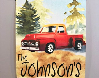 Personalized red truck canvas, red truck wall art, Family name with red truck, Red truck wall canvas, Personalized wall art