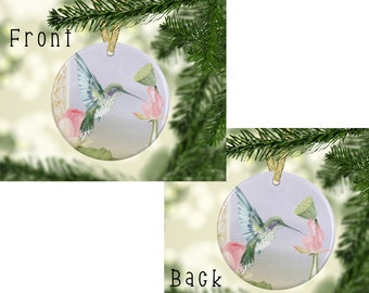 hummingbird with pink flower, humming bird ornament, hummer with flowers, hummingbird gifts