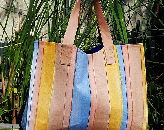 Hand painted cabas, beach bag, weekender