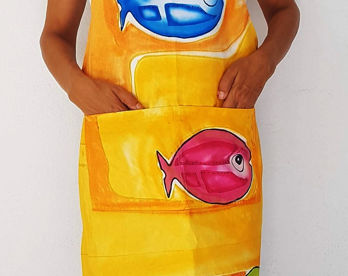 Unique Hand painted apron, unisex apron, Colorful apron, double front pocket