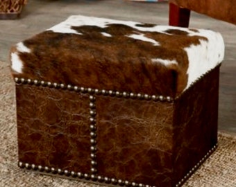 Cowboy Cowhide Distressed Leather Ottoman Western Decor Foot Rest Bedside Stool Couch Dog Step - Made To Order