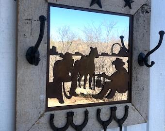 "Western Cowboy Horse Steel Plasma Cut Out Reclaimed Barn Wood Frame Mirror 18"" Rustic Decor Key Hat Hook Coat Rack READY TO SHIP"