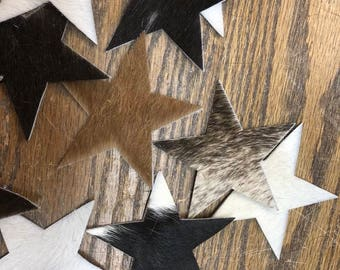 """24 Perfect Pre-cut Assorted Hair On Cowhide 4 3/8"""" stars Scraps for Crafts Scrapbooking"""