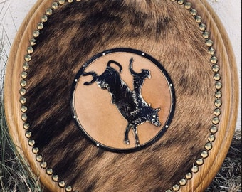 Western Cowhide Rodeo Bronc Rider Oak Toilet Seat Standard Round Cowboy Horse Home Decor MADE TO ORDER