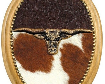 Western Cowhide & Embossed Leather Cowboy Decor Longhorn SOLID Oak Toilet Seat Elongated - Made To Order