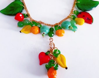 Vintage Murano Glass Fruit Pendants Necklace. Gold plated chain Victorian necklace