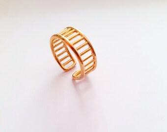 Geometric design ring, handmade 24k gold plated alliance type adjustable.