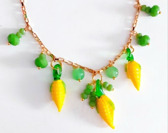 Vintage Murano Glass Corn charms Necklace. Gold plated chain
