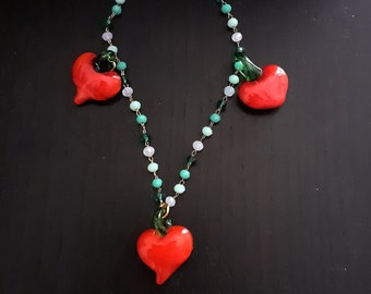 Necklace with vintage Murano glass heart pendant pendant and glass chain in greenwater color in degrade