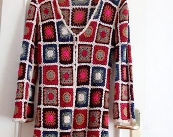 Granny Square Patchwork lon Jacket, VINTAGE  Boho Crochet Coat, Cardigan Handmade Genuine  70s multicolored Boho Spring Coat