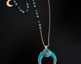 Necklace with Turquoise, enamel Moon pendant and golden plated 24k chain with glass beads Boho style, Bohemian, Amulet necklace