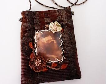 Handbag, vintage brow bag embroidered with Victorian lady