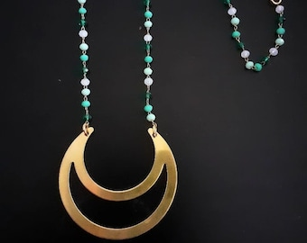 Necklace with Moon brass pendant and golden plated 24k glass chain in greenwater color in degrade   Boho style, Bohemian