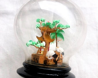 Miniature wooden and plastic, celluloid dome with oriental Japon scene in pagodas, herons. Vintage, incredible details