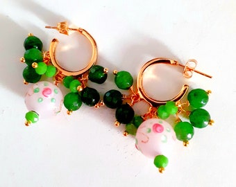 Earrings 24k gold plated gold hoop earrings with green agates and vintage floral pink Murano glass