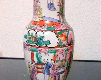 Macau porcelain vase, signed. Vintage 60's. Precious oriental motifs  Nice vintage 60s Vintage deco