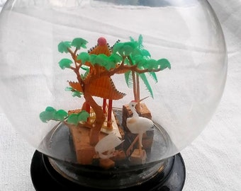 Miniature wooden dome with Japan, oriental scene in pagoda, herons. Vintage, incredible details