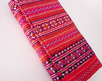 Handcmade purse, clutch purse with Hmong tribal embroidered fabrics from Thailand