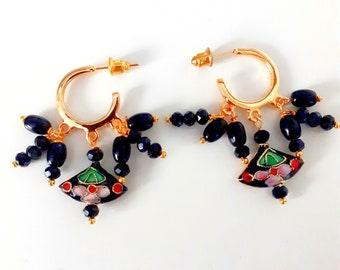 Earrings with floral enamel  cloisonne fans, and vintage gold plated pieces with japanese vintage glass beads black and gold