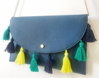 Playful tassel crossbody envelope purse. Tassel envelope clutch. Holiday purse. Tassel convertible clutch to crossbody purse.