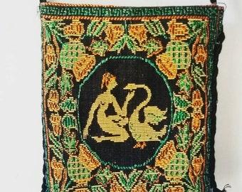 Jahrgang griechischen Gobelin Tasche. Leda und der Schwan Gobelin Tasche. Jahrgang griechischen Crossbody Geldbeutel. Vintage Gobelin Handtasche.