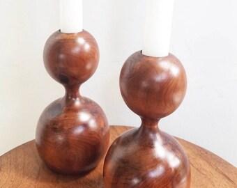 Pair of Scandinavian mid century candleholders. Vintage pair mid century solid wood candlesticks. Mid century turned wood candlestick decor.