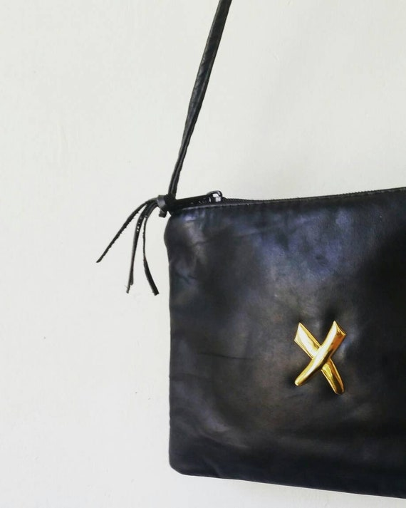 Small Black Leather Crossbody purse. Vintage Paul Joseph  2063bcdcd1080