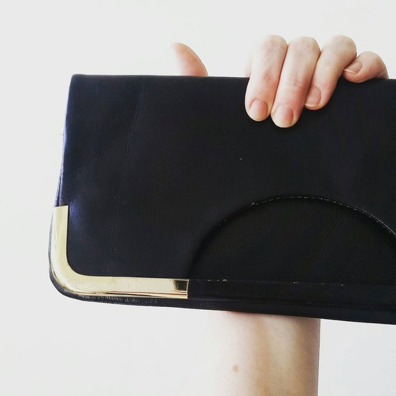 Vintage black leather folding clutch. Vintage Black Leather  4c646c987beff